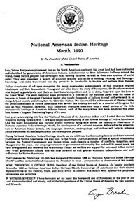 1990 Proclamation of National American Indian Heritage Month